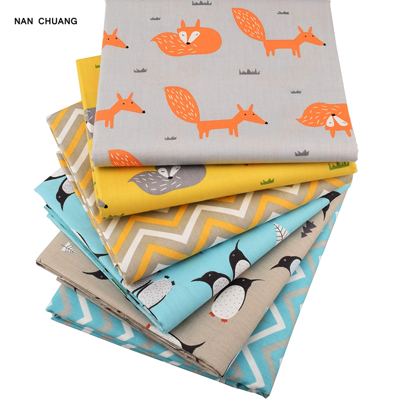 Nanchuang fox 6pcs lot patchwork cotton fabric for baby for Children s material sewing