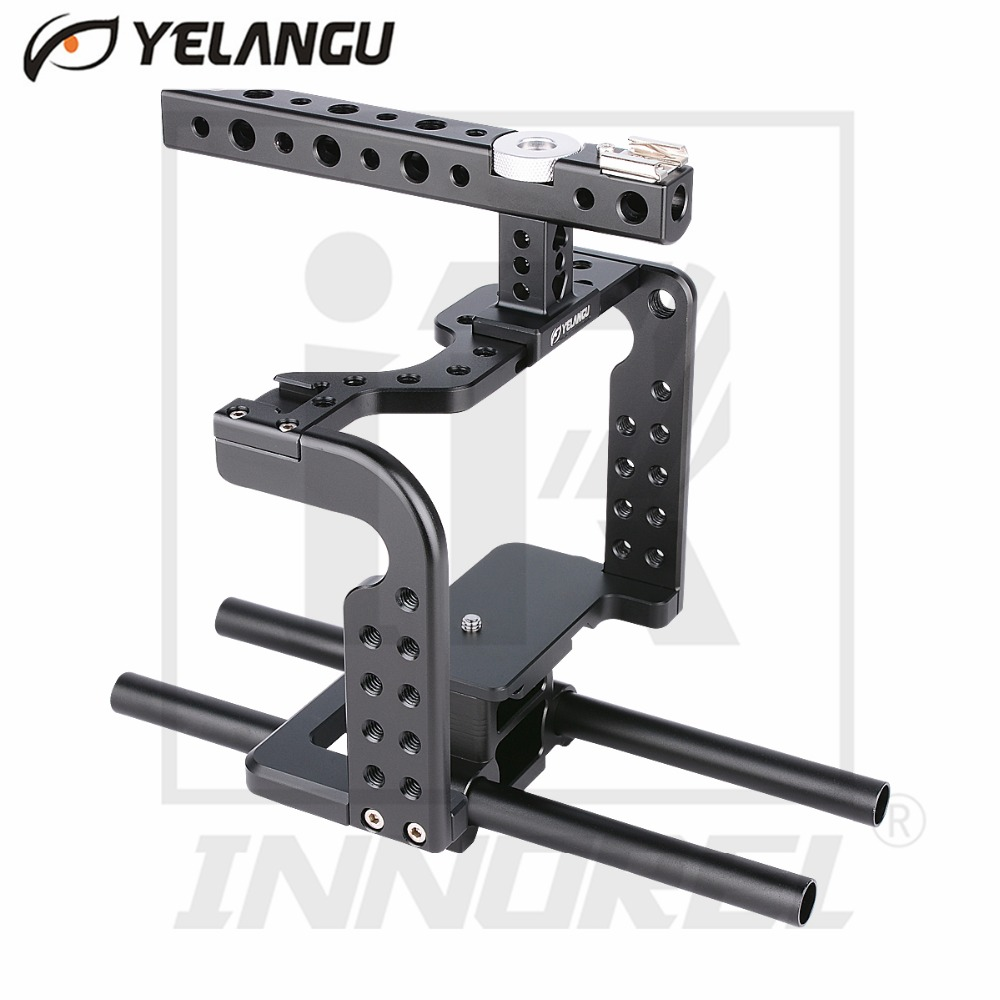 YELANGU Lightweight Aviation Aluminum Alloy CNC Camera Cage Rig Kit Compact Stabilizer Top Handle Grip for Sony DSLR GH5 GH4 купить дешево онлайн