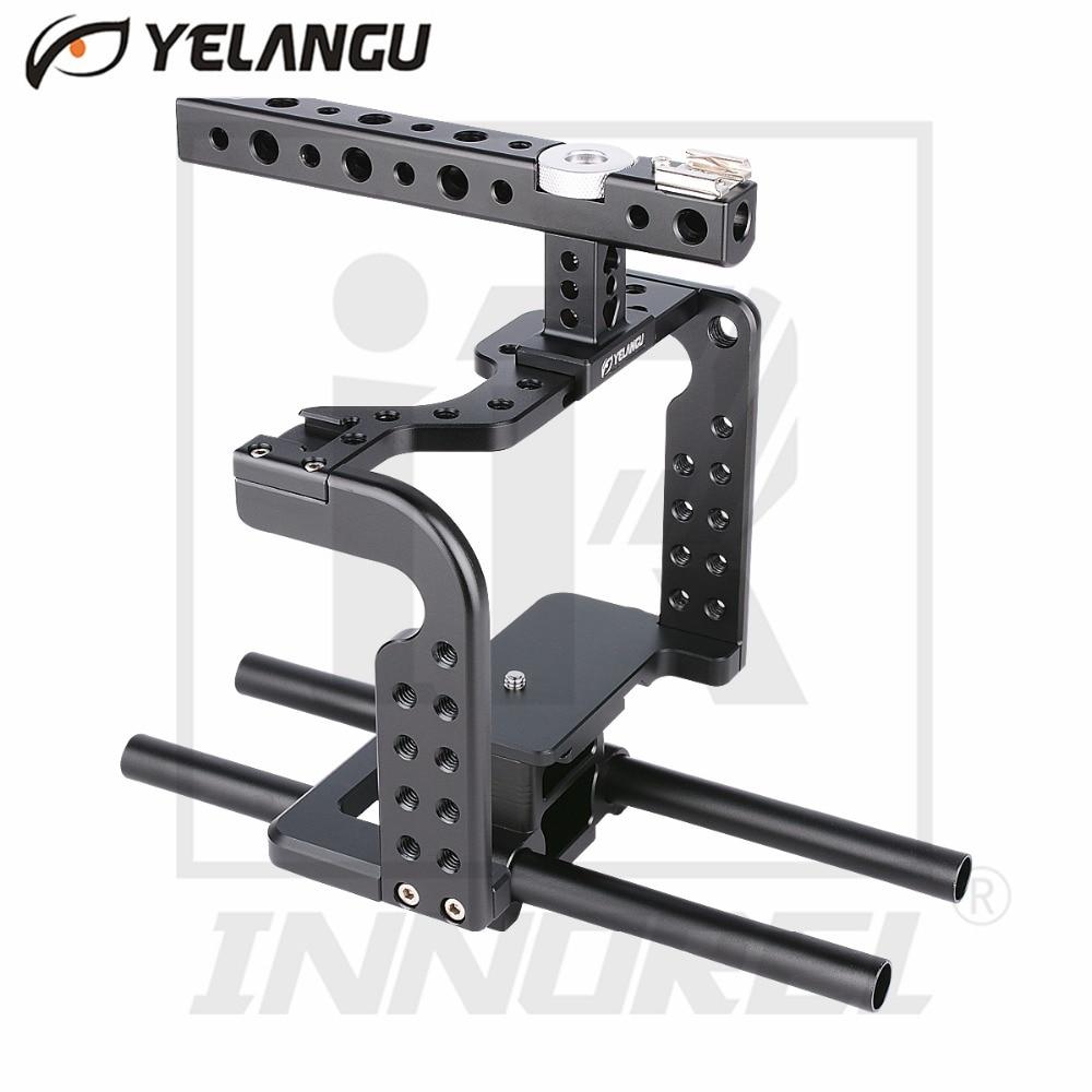 лучшая цена YELANGU Lightweight Aviation Aluminum Alloy CNC Camera Cage Rig Kit Compact Stabilizer Top Handle Grip for Sony DSLR GH5 GH4