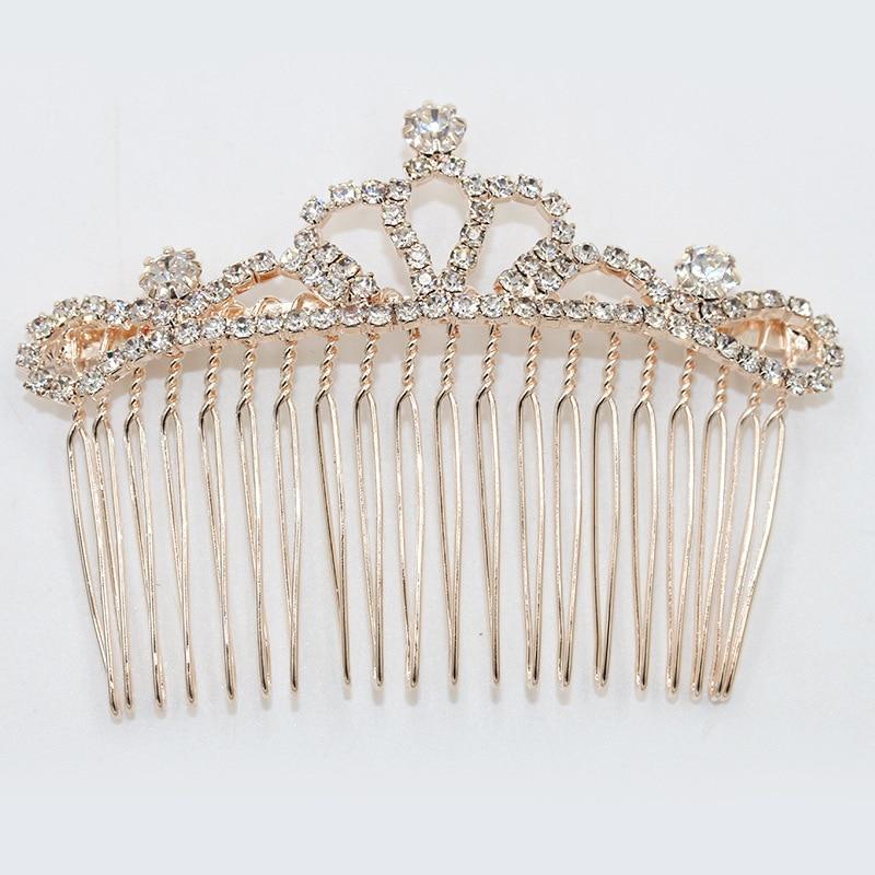 Полный фантазии Блестящий Хрустальная корона бантом лист цветок металлик золотой гребень для волос для Для женщин Украшения для волос