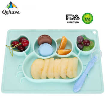 Qshare Baby Dishes Silicone Infant Plate Bowls Kids Tableware Food Holder Tray Children Food Container Placemat for Baby Feeding - DISCOUNT ITEM  38 OFF Mother & Kids