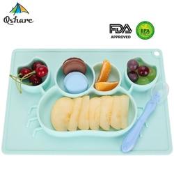 Qshare bebé platos silicona infantil placa cuencos niños vajilla comida bandeja porta niños contenedor de alimentos mantel para la alimentación del bebé