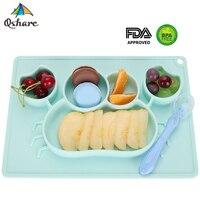Qshare bebek yemekleri silikon bebek plaka kaseler çocuklar sofra gıda tutucu tepsi çocuk gıda konteyner Placemat bebek besleme
