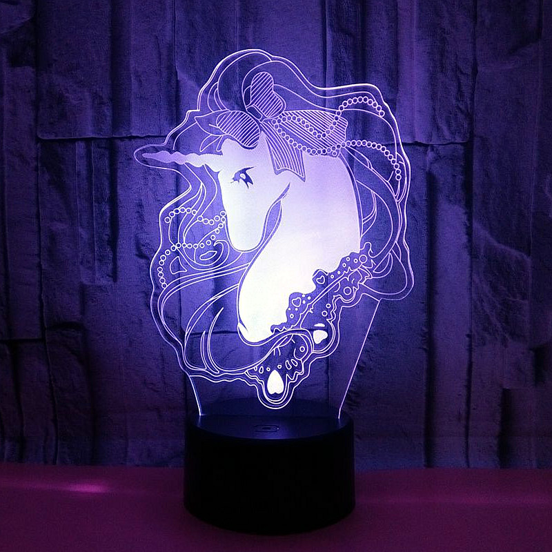 Cute 3D Luminaria Unicorn LED Table Lamp 7 Color Change 3D Night light Lampe Cartoon Usb Remote Touch Switch Light Xmas Gifts 3d visual 7 color change scorpio shape touching led night light