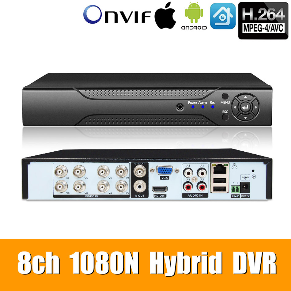 5in1 8ch 1080N AHD DVR Surveillance Security CCTV Video Recorder DVR Hybrid DVR For 720P 960H Analog AHD CVI TVI IP camera XMEYE