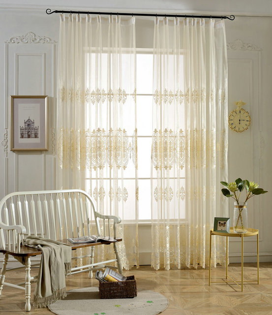 High End Water Soluble Yarn Embroidered Sheer Curtains For Bedroom Translucidus Tulle Volie Curtain Screens Rideau