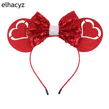 New 2019 Valentine Minnie Mouse Ears Hairband  with 5''Sequin Bow Headbands For Girls Kids Party Hair Accessories 1pc new valentine minnie mouse ears headbands 5 sequin bow hairband for girls kids party headband hair accessories