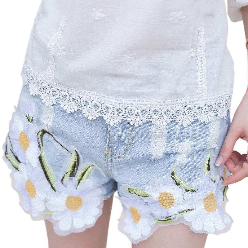 YRRETY 2019 New Lace Splice Denim   Shorts   Women Summer Fashion Ripped Jeans   Short   Feminino Vintage High Waist Slim   Short   Hot