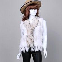 Retail/wholesale real rabbit  Fur vest/jacket women Knitted Natural Rabbit Fur real coat/Gilet/waistcoat with raccoon fur collar