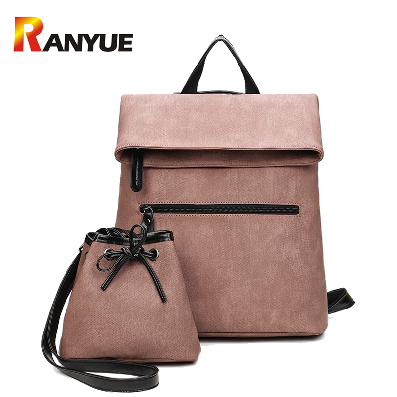 2 PCS/SET Women Backpack PU Leather Backpack Women 2017 Hotsale School Bags for Teenagers Famous Brand Black Femal Backpack New