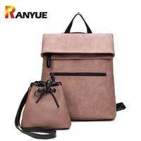 2 PCS/SET Women Backpack PU Leather Backpack Women 2017 Hotsale School Bags for Teenagers Famous Brand Black Femal Backpack New