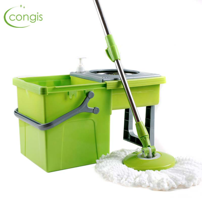 Congis Round mop bucket for Home floor cleaning High quality Green hand free rotate spinning mops