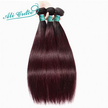 Ali Grace Hair Pre-Colored Brazilian Straight Hair 3 Bundles 1B/99J Ombre Color Remy Human Hair Extensions(China)