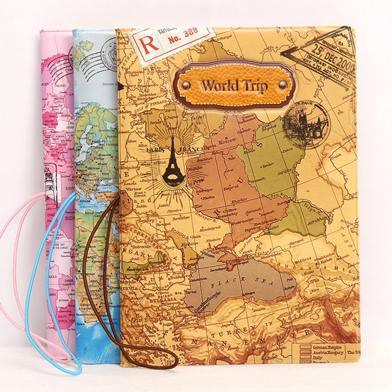 Fashion Map Passport Cover Creative Wallet Bag Travel  Accessories Women PU Leather ID Address Holder Portable Boarding Coverd