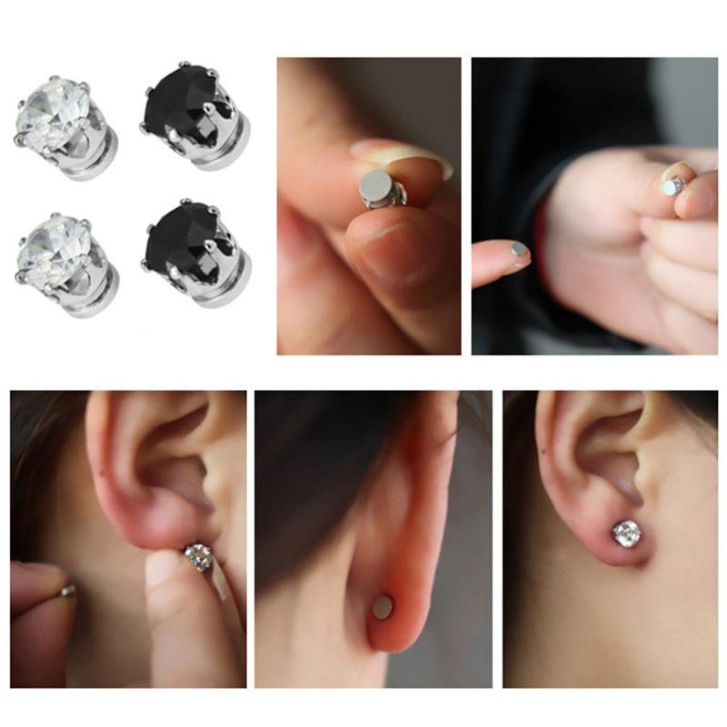 2018 1 Pair White Black Magnetic Magnet Ear Stud Easy Use Crystal Stone Earrings For Women Men Earrings Clip On No Ear Hole Gif