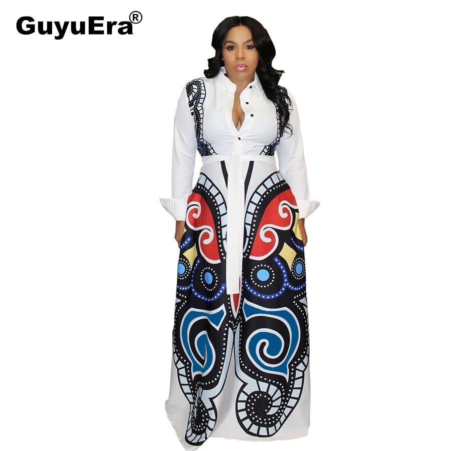 GuyuEra African Woman Dress White Big Swing Dress Butterfly Print Sexy Dress