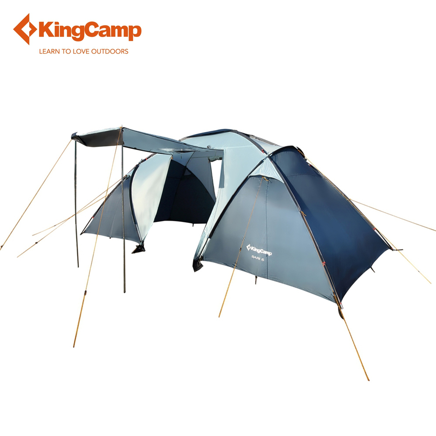 KingCamp Bari 6-Person 2-Room 3-Season Outdoor Tent for Family Camping Portable Outdoor Hiking Trekking Tent kingcamp camping tent waterproof brand windproof bari fire resistant 4 person 3 season outdoor tent for family camping