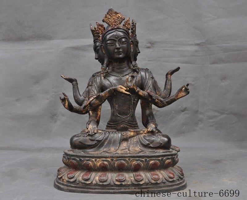 christmas Tibetan Buddhism bronze Gilt 3 Head 8 Arms Kwan-Yin Guanyin Bodhisattva statue halloweenchristmas Tibetan Buddhism bronze Gilt 3 Head 8 Arms Kwan-Yin Guanyin Bodhisattva statue halloween