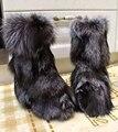 Euro Estilo de Lujo de Diseño de Piel de Invierno Mujer Botas Aumento de la Altura Real de Piel De Zorro de la Nieve Botines Zapatos de Invierno Cálido Envío Gratis