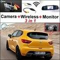 3 in1 Специальный Камера Заднего Вида + Беспроводной Приемник + Зеркало монитор Резервное Копирование Парковочная Система Для Renault Clio 3 4 Lutecia