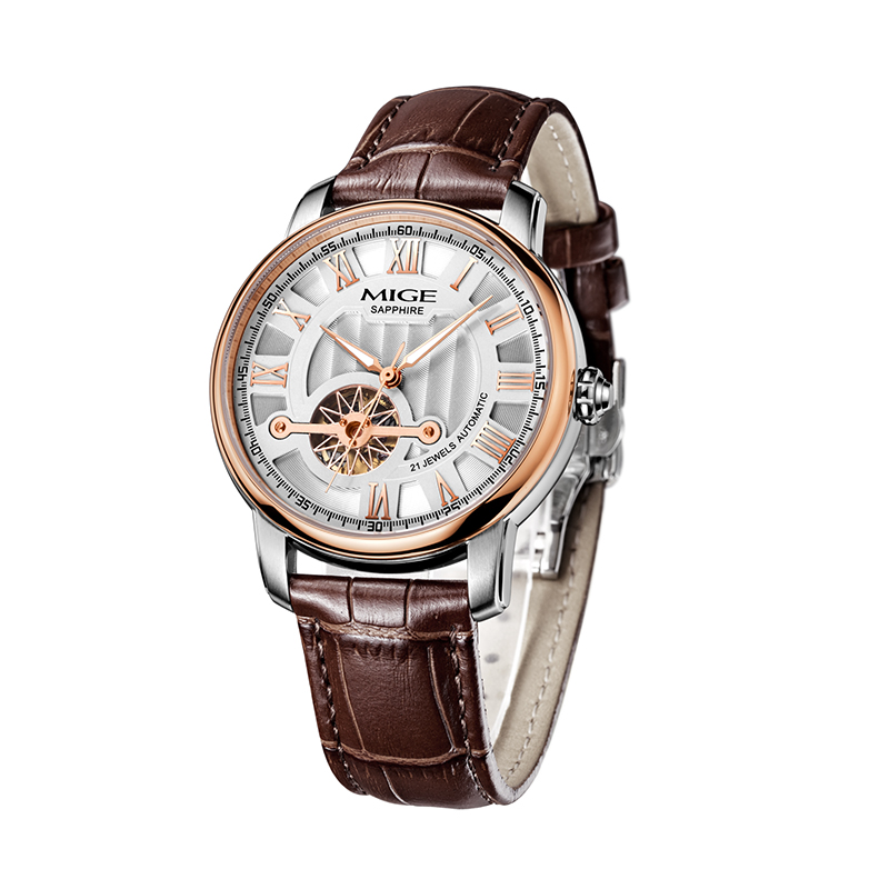 2017 Mige New Hot Sale Skeleton Mechanical Clock Watch Rose White Black Brown Leather Strap Automatic Waterproof Man Wristwatch mige 2017 real time limited rushed sale man watch black white steel watchband business waterproof quartz movement mans watches