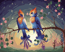 Frameless Picture Two bird Painting By Numbers Modern Wall Art Handpainted Oil On Canvas For Home Decoration