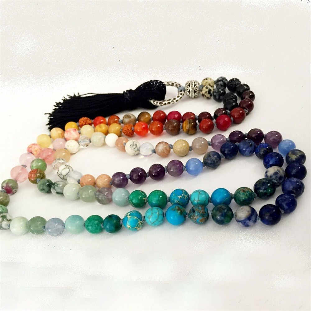 Energy Natural 8mm Rainbow Stone Women's 108 Beads Necklace 7 Chakra Tassel Mala Hand Knotted Balancing Crystal Yoga Necklace