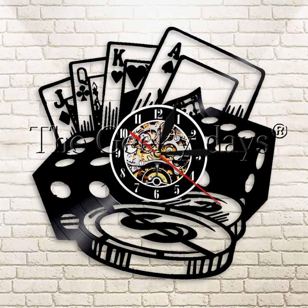 1Piece Poker Stars Card Vinyl Record Wall Clock Handmade Clocks Play Game Creative Watch Time Clock Living Room Interior Decor