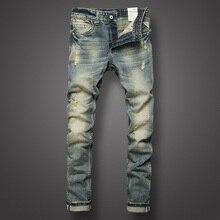Итальянский стиль, модные мужские джинсы, Ретро дизайн, облегающие джинсы, рваные джинсы, Мужские штаны, брендовая одежда, ностальгия, цвет, байкерские джинсы