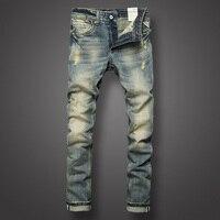 İtalyan Tarzı Moda Erkek Jeans Retro Tasarım Slim Fit Denim Pantolon Yırtık Kot Mens Marka Giyim Nostalji Renk Biker Jeans