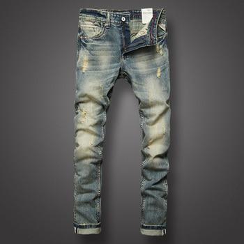 Italian Style Fashion Mens Jeans Retro Design Slim Fit Denim Ripped Pants Brand Clothing Nostalgia Color Biker