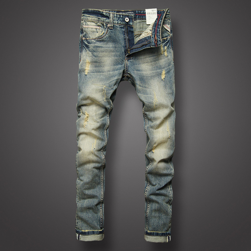 Italian Style Fashion Mens   Jeans   Retro Design Slim Fit Denim Ripped   Jeans   Mens Pants Brand Clothing Nostalgia Color Biker   Jeans