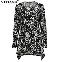 VITIANA Women Casual T Shirt Black Floral Print Long Sleeve Tops Tee Shirt Pullover Tshirt Female
