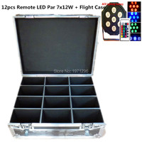 Free Fast Shipping With Flight Case Wireless Remote Control LED Par 7x12W RGBW 4IN1 LED Wash