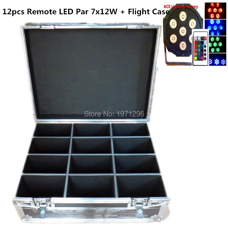 ФОТО 12pcs/lot Free&Fast shipping with flight case Wireless remote control LED Par 7x12W RGBW 4IN1 LED Wash Light Stage Uplighting