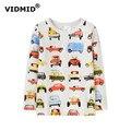 VIDMID 2-10Y мальчики с длинными рукавами Футболки мальчиков футболки автомобиль топ хлопок мальчики повседневная Футболка детская одежда возраст