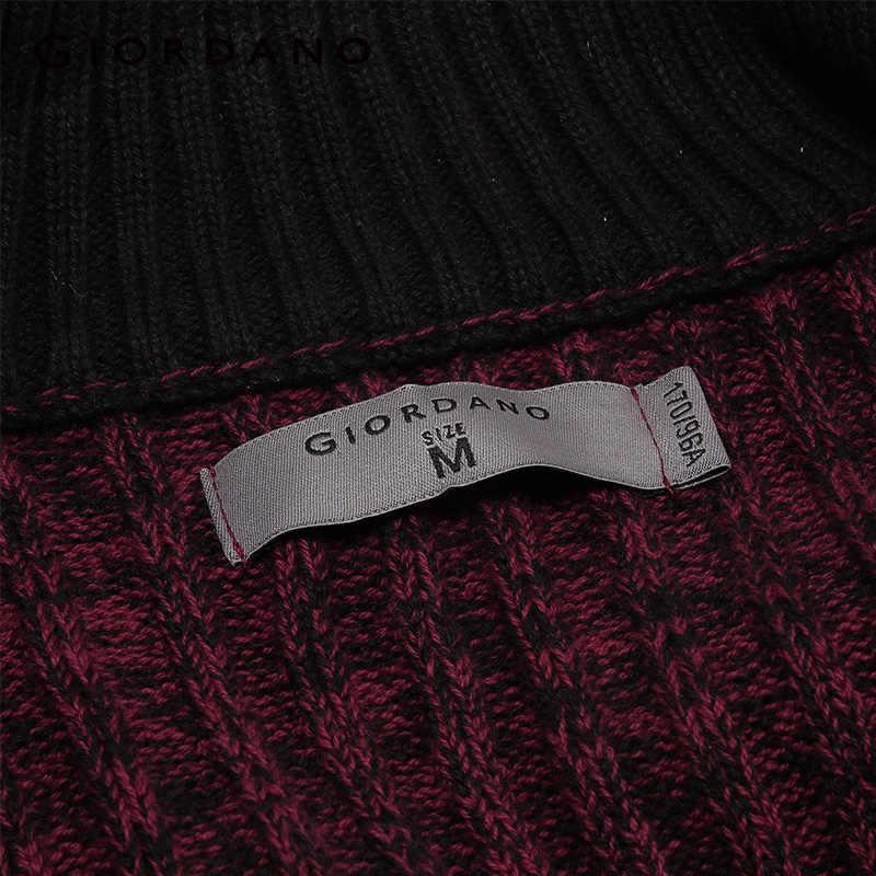 Giordano Мужской Ребристый кардиган на молнии с карманами спереди, трикотажные изделия, Повседневный свитер с длинными рукавами