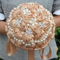 Novo Personalizado Cáqui Subiu Buquês de Flores de Seda Nupcial Do Casamento Pérolas Frisada Broche Bouquets De Casamento Titular W225-4