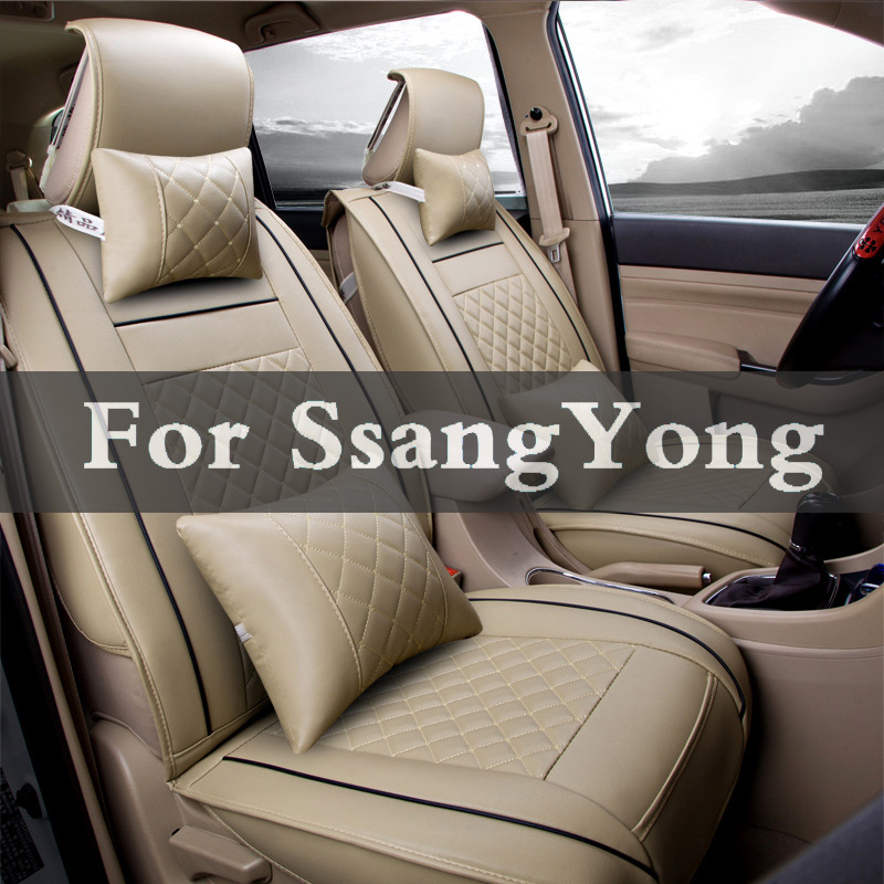 Four Seasons Leather Car Interior Pad Front Back Seat Cushion Cover For Ssangyong Actyon Nomad Tivoli Rexton Korando Musso Kyron