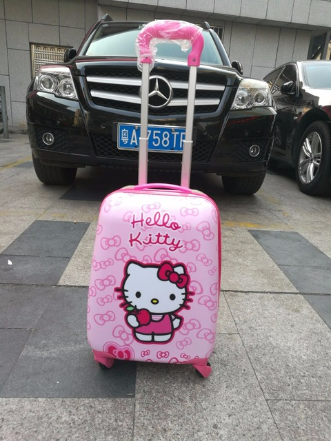 New 2017  fashion luggage children hello kitty suitcase cartoon animation  luggage with rolls  ,  EVA  travel suitcase wheel