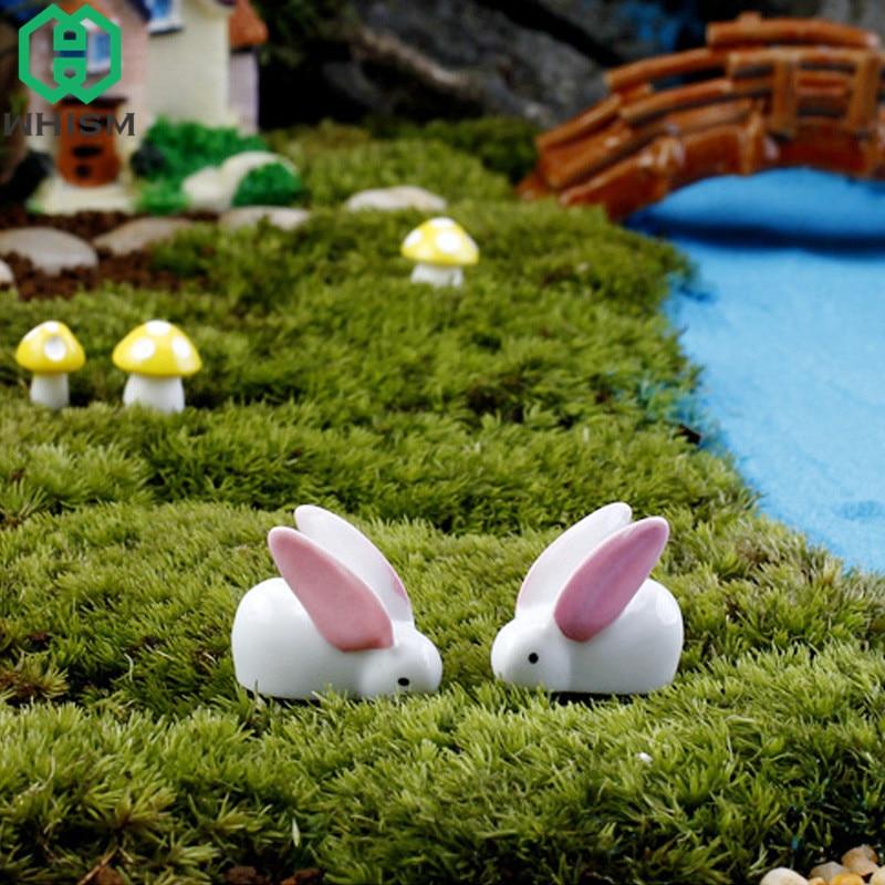 WHISM 10PCS Resin Rabbit Model Landscape Ornament Animal Craft Succulent Pot Decor Fairy Garden Miniatures Terrarium Figurines
