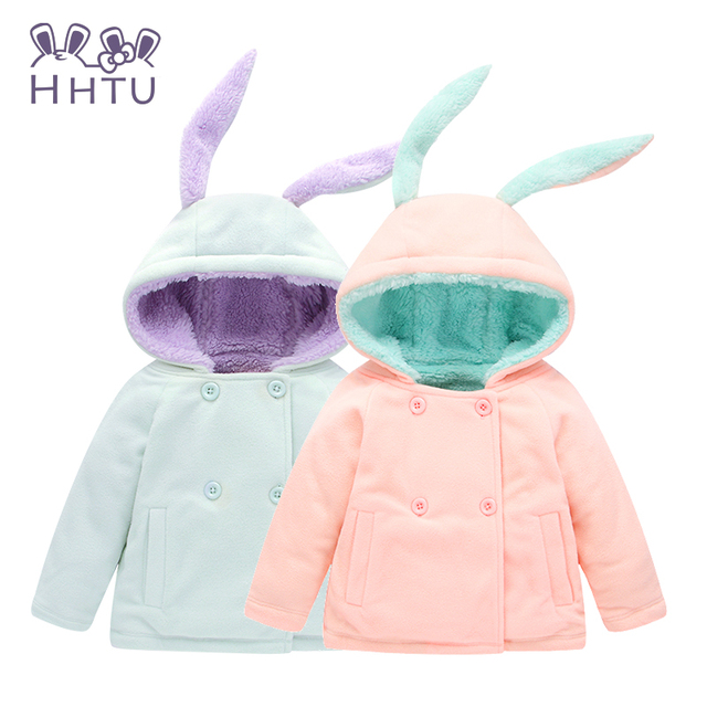 HHTU Cute Rabbit Ear Hooded Girls Coat Autumn Winter Warm Kids Jacket Outerwear Children Clothing Baby Tops Girl Coats