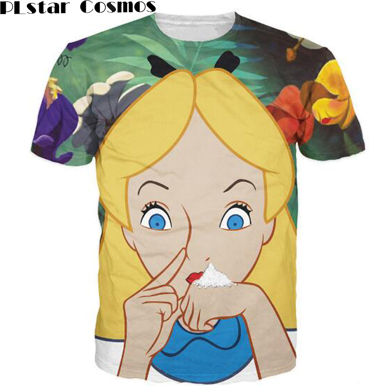 PLstar Cosmos Alice in Cocaland T-Shirt sick sexy naughty vibrant tee Casual tops camisetas fashion clothing t shirt for women