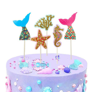Image 5 - Happy Birthday Decoration Mermaid Paper Cake Topper Princess Garland 1st First Birthday Boy Girl Party Supplies