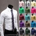 Venda quente 2016 dos homens Jeansian Business Casual Cotton Sólidos Magro Fit Vestido de homem Shirts Tops Ocidental Casual 17 Cores XS ~ XL 8504
