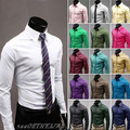 Venta caliente 2016 Jeansian hombres de Algodón Casual de Negocios Sólido Delgado Vestido Fit hombre Camisas Tops Casual Occidental 17 Colores XS ~ XL 8504