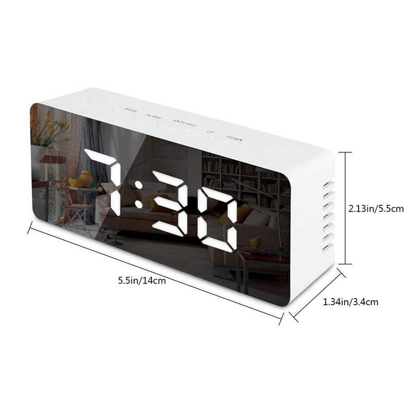 LED Mirror Table Lamps Digital Alarm Clock Night Light Time Date Temperature LED Display Mirror Desk Clock with Snooze Function