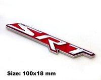 2pcs Set SRT Car Fender Emblem Badge Sticker Red Metal 100x18 Mm For Dodge Ram Viper