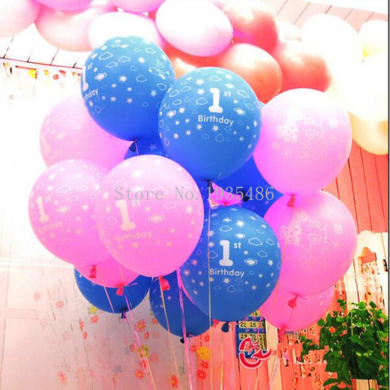 New Thick Cartoon 50 pieces latex balloon pink girl's blue boy's 1st happy birt