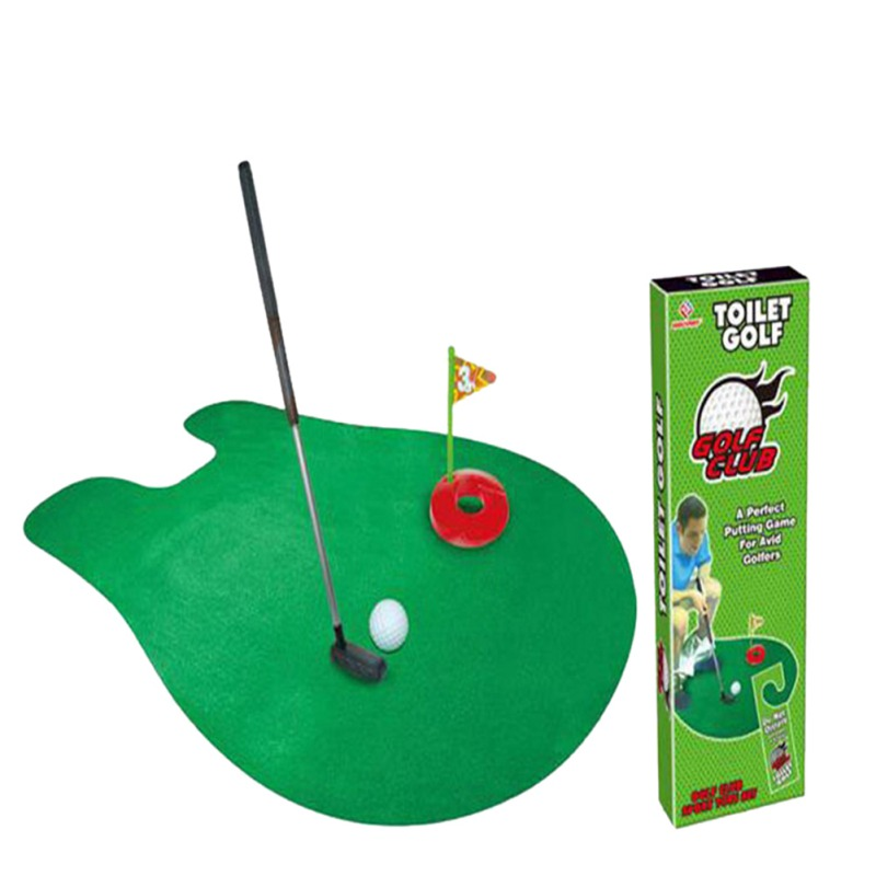 Newest KidsToilet Golf Toys Game Mini Golf Set Toilet Golf Putting Green Novelty Game 2017 BEST GIFT For Kids